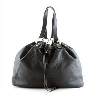 Yves Saint Laurent reversible black leather Y tote